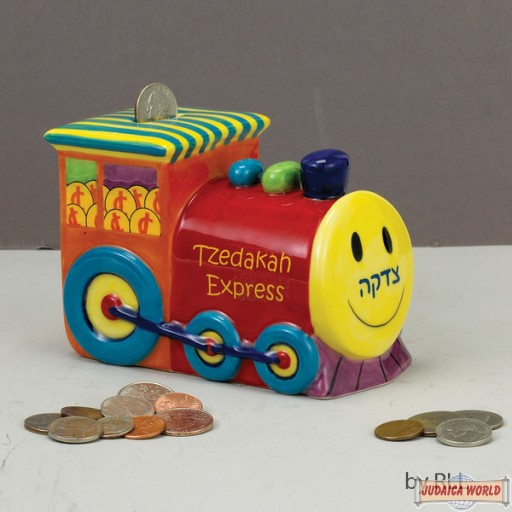 Ceramic Train Tzedakah Box