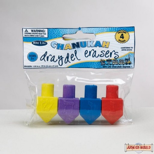 Chanukah Eraser Dreidels, Set of 4 Assorted Colors