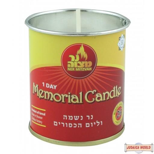 Yahrzeit Candle in Tin