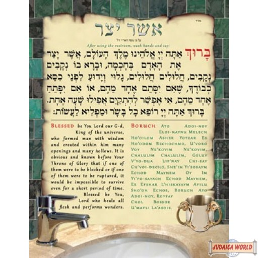 אשר יצר Asher Yatzar Poster with English