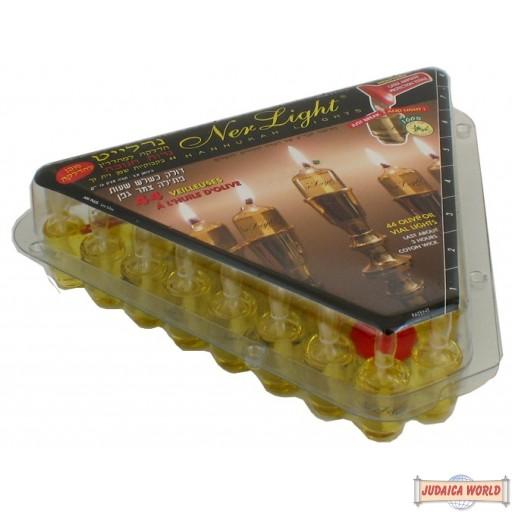 Ner Light Channukah Lights-Box of 44 olive oil vials
