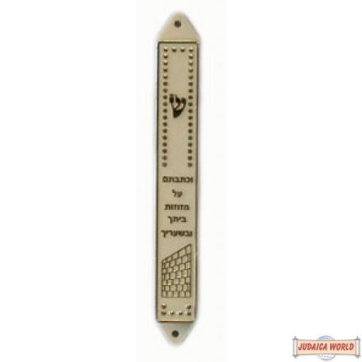 10cm  White & Silver - Plastic Mezuzah Case