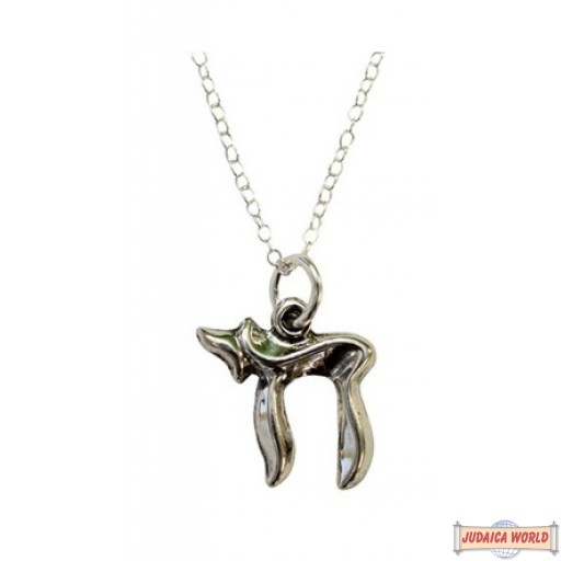 """Silver Chai Necklace Chain 18"""" Pendant 1/2""""W X 3/4""""H"""