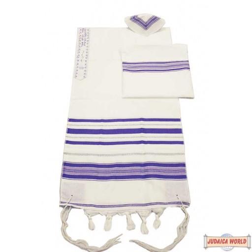 Elegant Acrylic Tallit Set - Purple / Silver