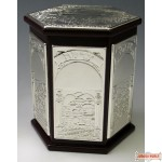 Hexagon Wood and Silver Plated standing Pushka