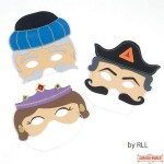 Set of 3 Purim Masks - Esther, Haman & Mordechai