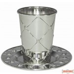 Silver Plated Becher w Plate Diamond design