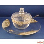 Glass Honey Dish with Lid, Plate & Spoon