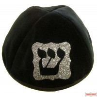 Yarmulka with Large Initial in Frame Style #4