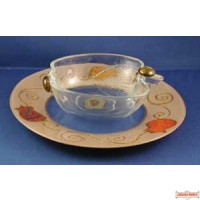Glass Honey Dish with Plate