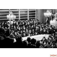 """Vintage Canvas wrap of Rebbe's Farbrengen 16"""" by 24"""" (Free US shipping)"""