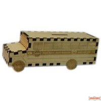 School Bus Wooden Pushka