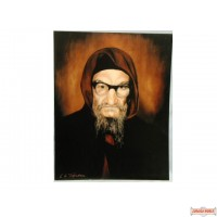 """Picture of drawing of the Baba Sali(בבא סלי) mounted on wood - 11"""" X 14"""" - On Wood"""