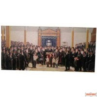 Picture of Rebbe in 770 surrounded by Chassidim  (does not qualify for free shipping)
