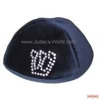 Velvet Yarmulka with Outlined Large Hebrew Letter in Rhinestone