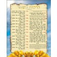 ברכת השחר Morning Blessings Laminated Poster Blue or Pink